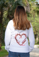 SMALL -YOUTH light weight white antler heart sweater