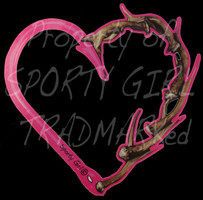 PINK Antler and hook heart decal