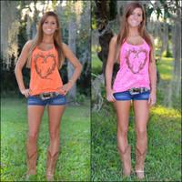 Neon antler Heart Burnout tank tops-PINK and ORANGE