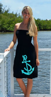 Longer Length Aqua Anchor onesize dress--MORE COLORS--