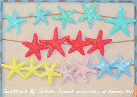Glitter Starfish Hair Clips