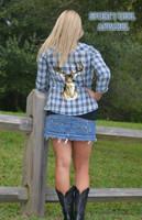 Country Blue deer head  flannel shirt