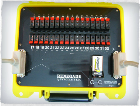 Included is one Renegade32 slat mounted in a yellow Seahorse 300 case. The Renegade 32 cue slat is the  perfect mate for the SparkFire with a cn36 port or any 32 cue firing system with a 36 pin centronics cable output and will work with all popular 32 cue systems that currently use a 32 cue slat.