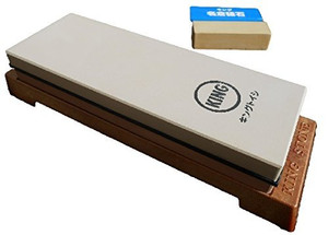 King Japanese Grit 1000/6000 Combination Sharpening Stone KW-65 and King #8000 Nagura Stone : Bundle - 2 Items