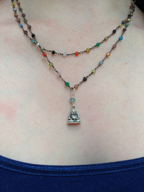 Buddha on a colorful wire wrapped chain