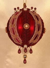 "Handmade Christmas Ornaments ""Rowena"" (burgundy)"