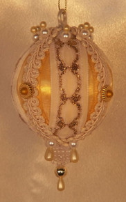 "Handmade Christmas Ornaments ""Rowena"" (White and Gold)"