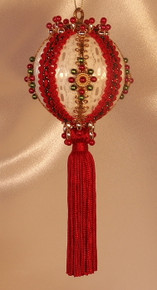 "Handmade Christmas Ornaments ""Christmas Crown Red"" with Added Tassel"