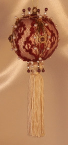 "Handmade Christmas Ornaments ""Burgundy Lace"" with Added Tassel"