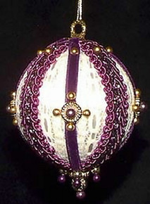 Victorian Style Christmas Tree Ornaments - Purple Crown