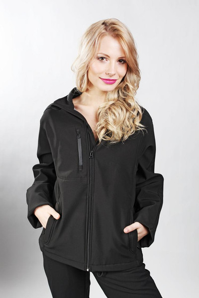 Ladies Solid Black Softshell Jacket