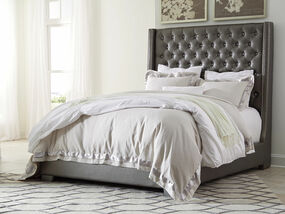 Coralayne Gray King Upholstered Bed