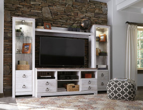 Willowton Whitewash LG TV Stand with Fireplace Option, 2 Piers & Bridge
