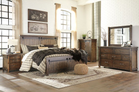 Lakeleigh Brown 7 Pc. Dresser, Mirror, Queen Panel Bed & 2 Nightstands