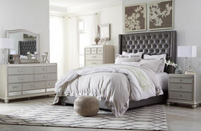 Coralayne Silver 5 Pc. Dresser, Mirror, Chest & King Upholstered Bed