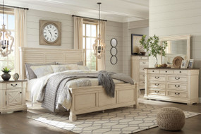 Bolanburg Two-tone 8 Pc. Dresser, Mirror, Chest, King Louvered Bed & 2 Nightstands