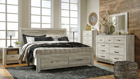 Bellaby Whitewash 6 Pc. Dresser, Mirror & King Panel Storage Bed