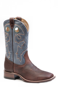 Men's  Boulet Dark Oiled Brown Wide Square Toe Cowboy Boot