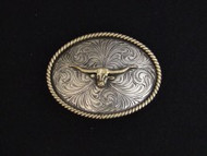 Hand-Engraved Nickel and Brass Longhorn Belt Buckle