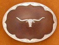 Oval Sterling Silver Longhorn with Rusted Finish Belt Buckle