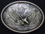 Hand-Engraved Nickel and Brass Eagle Belt Buckle