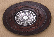 Leather with Sterling Silver Concho Belt Buckle