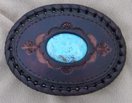 Leather with Turquoise Stone Belt Buckle