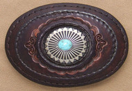 Leather Belt Buckle with Silver and Turquoise Concho