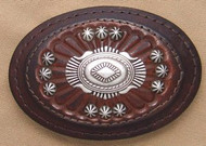 Leather Belt Buckle with Nickel Conchos