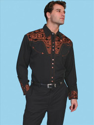 Men's Scully Black and Tan Paisley Embroidered Western Snap Shirt