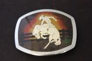Sand-Painted Bronco Rider Belt Buckle