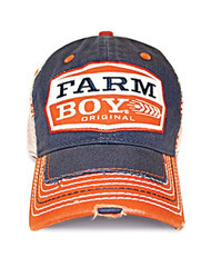 Farm Boy Brand Blue / Orange Mesh Trucker Cap