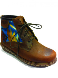 "Paul Brodie's Women's Winter Boot Brown Lace with ""Coyote Butte Turquoise"" Pendleton Blanket"