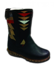 "Paul Brodie's Women's Winter Boot Short Black with ""Over-All Black"" Pendleton Blanket"