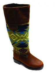 "Paul Brodie's Women's Winter Boot Brown with ""Coyote Butte Khaki"" Pendleton Blanket"