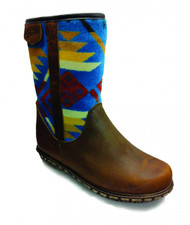 "Paul Brodie's Women's Winter Boot Short Brown with ""Coyote Butte Turquoise"" Pendleton Blanket"