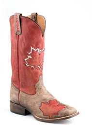 Men's Roper Square Toe Canadian Flag Cowboy Boot