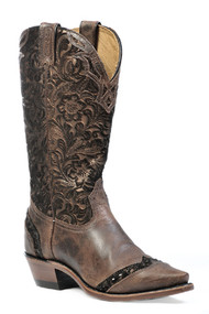 Women's Boulet Brown Paisley Pattern Snip Toe Western Boot
