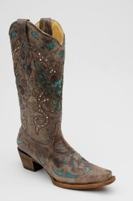 Women's Corral Brown/Turquoise Eagle Inlay with Crystals Western Boot