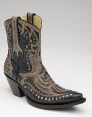 Women's Corral Black/Brown Short Inlay & Studs
