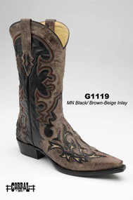 Men's Corral Black/Brown with Beige Inlay Western Boot