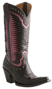 Women's Lucchese Cheyenne Black and Pink with Studs Western Boot