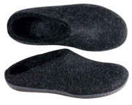 Glerups Slipper with Rubber Sole Black