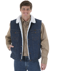 Men's Wrangler Sherpa Lined Denim Vest - Prewashed