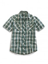 Men's Tin Haul Short Sleeve Blue/Olive Plaid Shirt