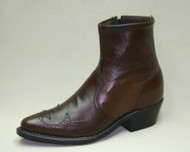 Men's Abilene Brown Half Western Boot with Side Zip