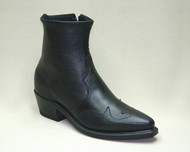 Men's Abilene Black Half Western Boot with Side Zip