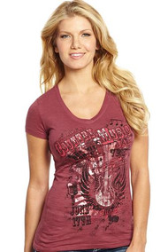 Cowgirl Up Country Music Foil Slub V-Neck