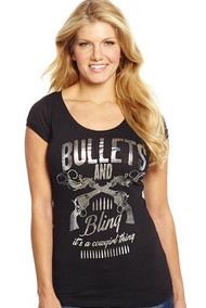 Cowgirl Up Bullets & Bling Scoop Tee