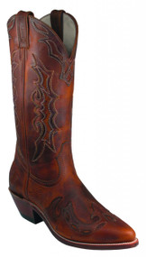 Women's Boulet Brown Overlay Western Boot